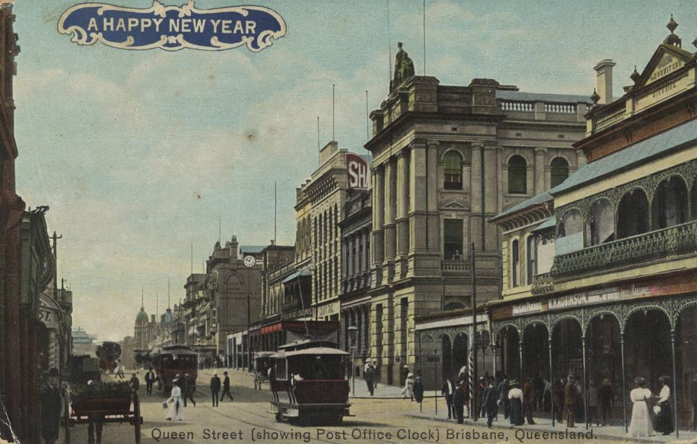 New Year postcard showing Queen Street, Brisbane