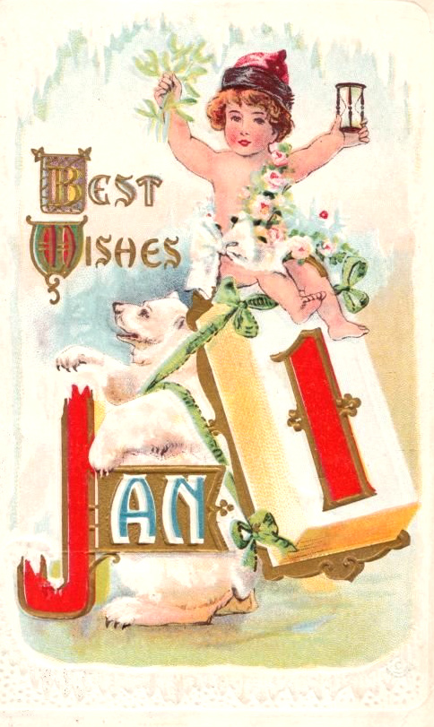 New Year postcard from 1913 featuring a polar bear and Baby New Year.