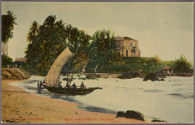 Ceylon -- Colombo. Mount Lavinia Hotel and sea shore.